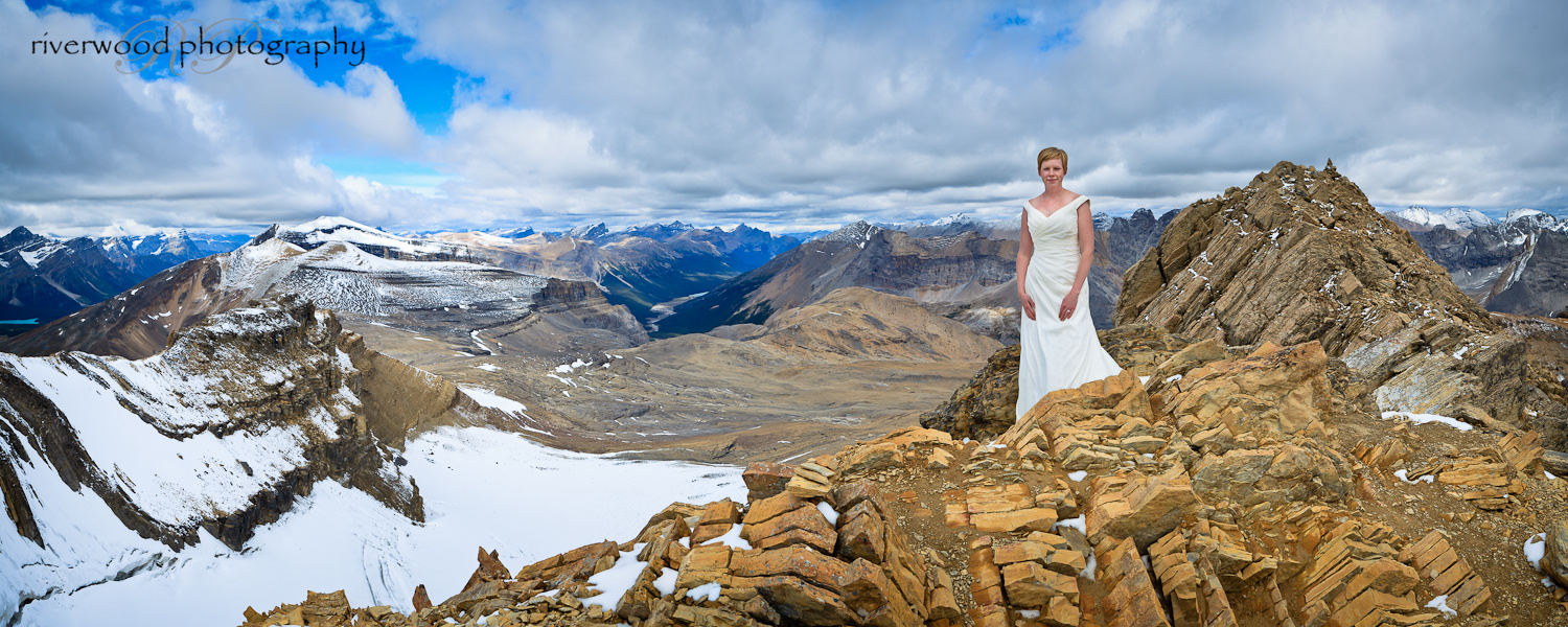 Panoramic image from a Trash the Dress Photoshoot at the Summit of Cirque Peak