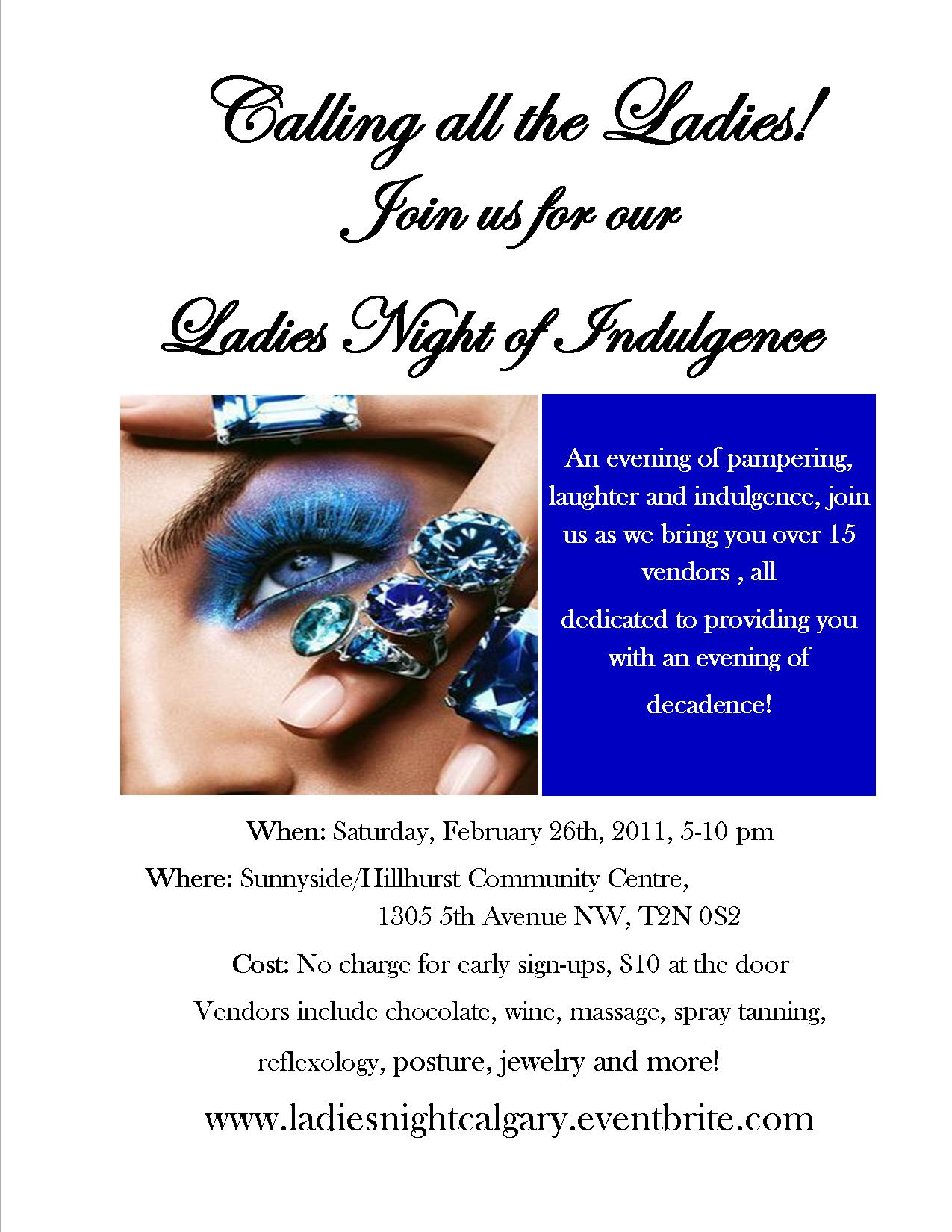 Reminder: Ladies Night of Indulgence