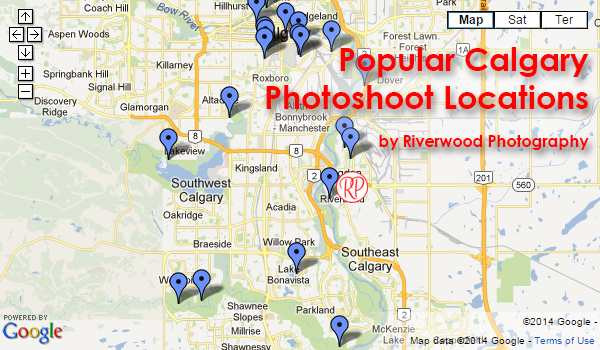 Popular Calgary Photoshoot LocationsMap