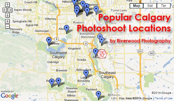 Popular Calgary Photoshoot LocationsMap