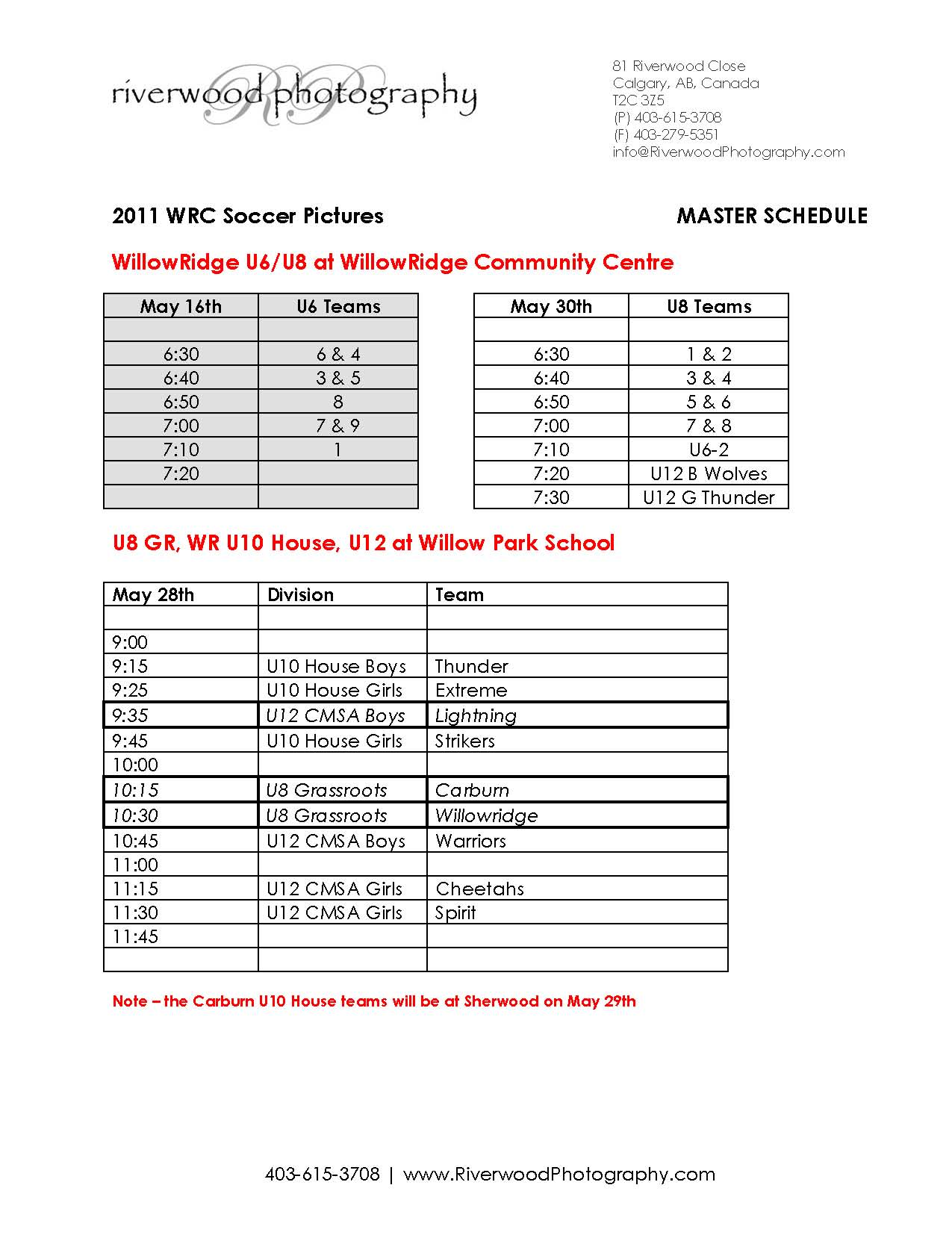 WRC Soccer Picture Day Schedule