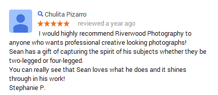 I would highly recommend Riverwood Photography to anyone who wants professional creative looking photographs! Sean has a gift of capturing the spirit of his subjects whether they be two-legged or four-legged. You can really see that Sean loves what he does and it shines through in his work! Stephanie P.