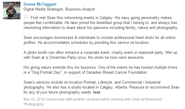 Sean encourages businesses & individuals to include professional head shots for all online profiles. He accommodates schedules by providing this service on-location.