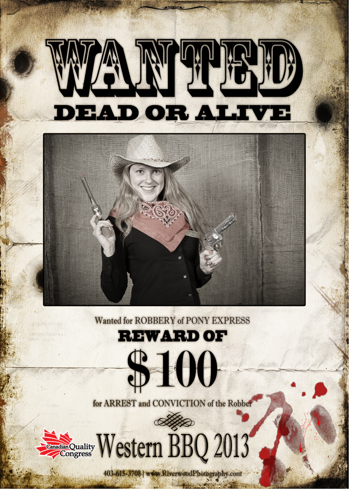 Calgary Stampede themed Wanted Poster from a Custom Photobooth