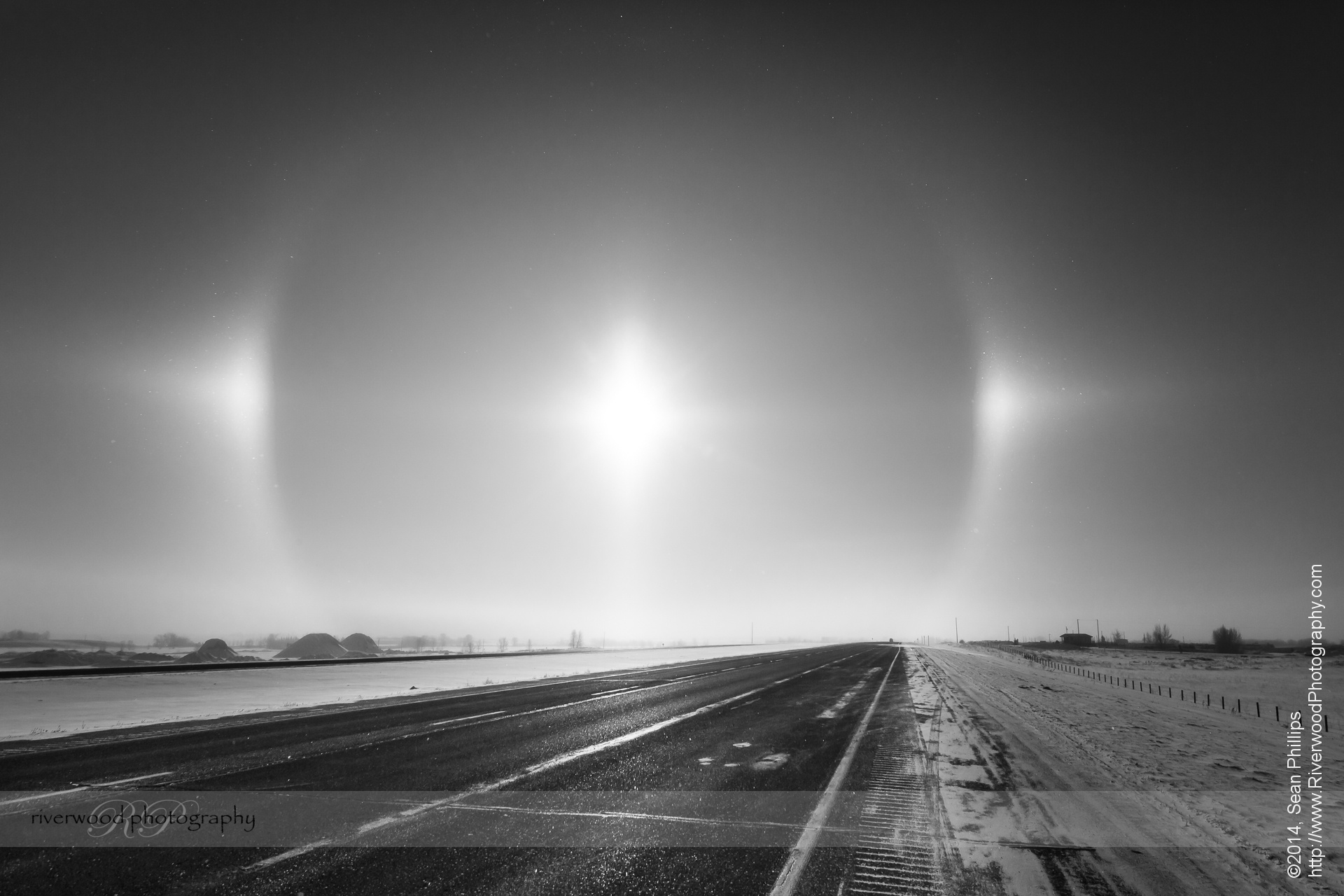 Ice Halo and Sun Dogs over Highway 2 South of Calgary