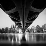 Under the Calgary Peace Bridge at Night