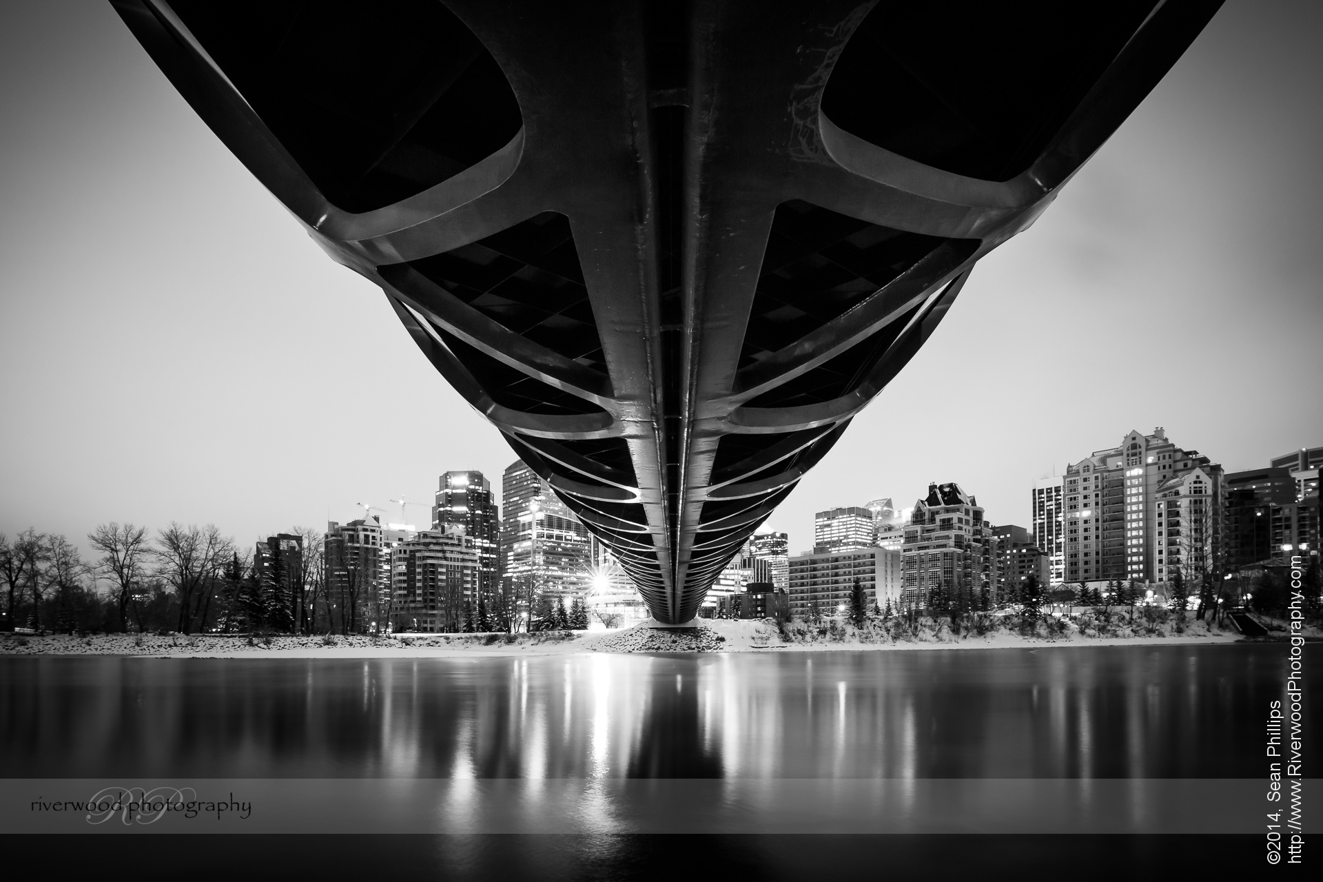 Under the Calgary Peace Bridge at Night