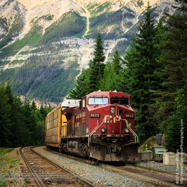 a cp rail locomotive on the tracks in yoho national