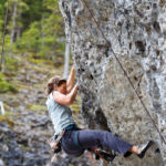 Rock Climber at Grassi Lakes near Canmore
