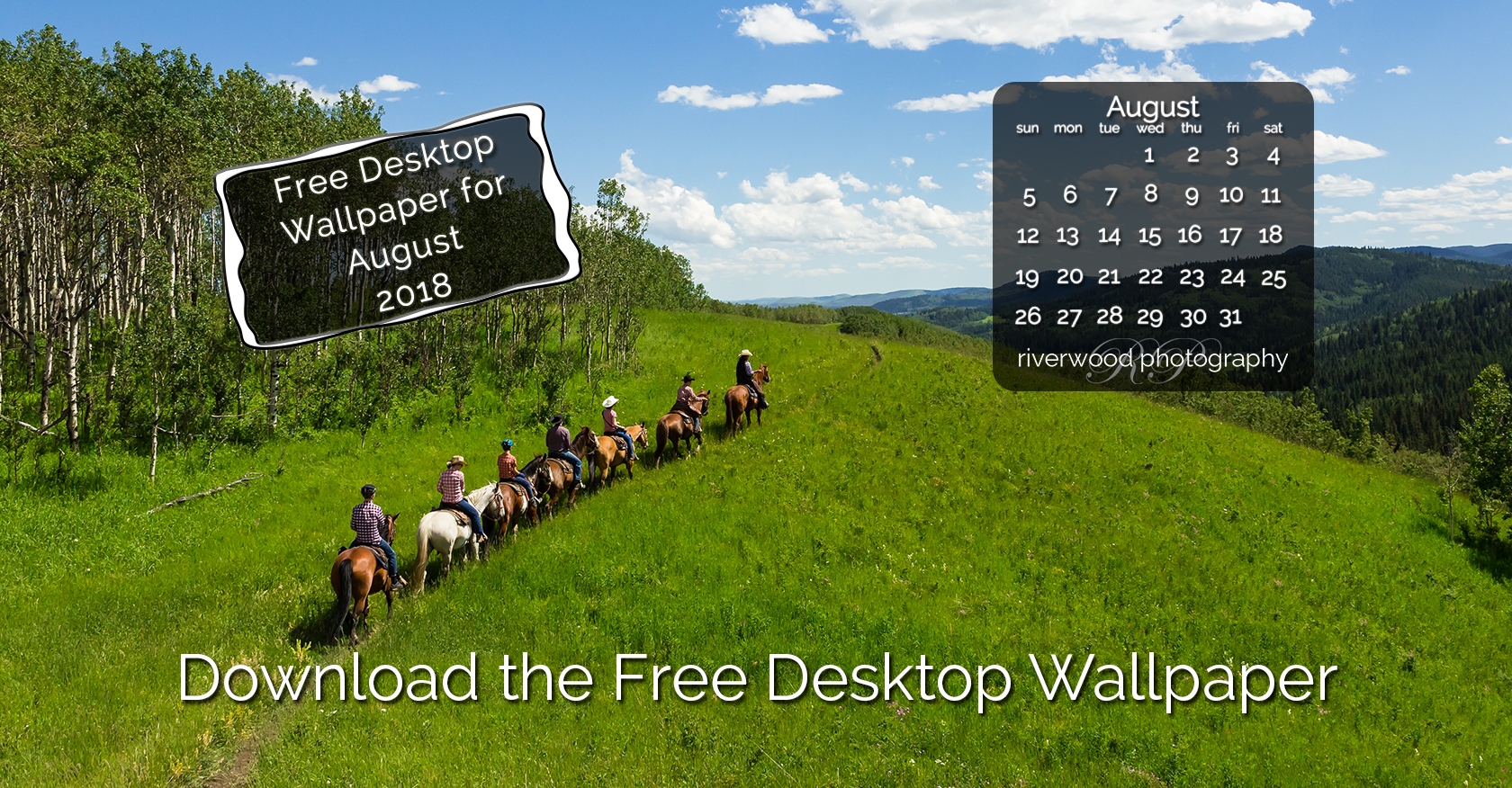 Free Desktop Wallpaper for August 2018 – Trail Riding in Kananaskis Country