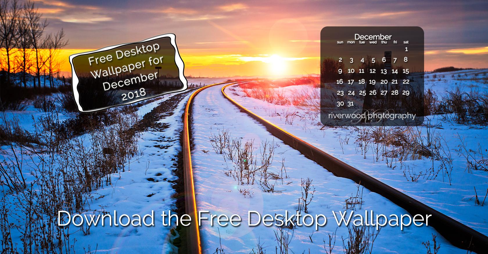 Free Desktop Wallpaper for December 2018 – Railway Sunset